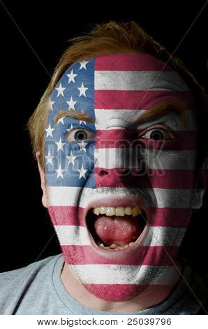Face Of Crazy Angry Man Painted In Colors Of American Flag