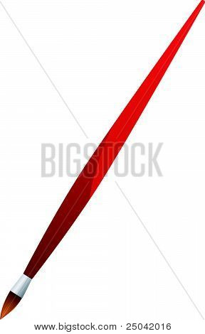 Vector Illustration Red Brush On  White Background