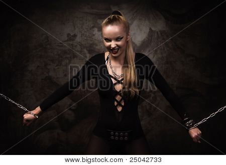 Vampire Girl In A Silver Chains