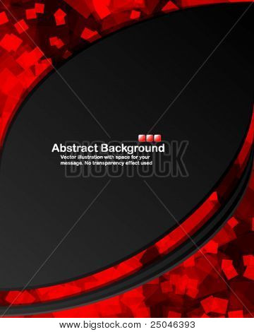 Dark background with random transparent red squares. Vector illustration in RGB colors.
