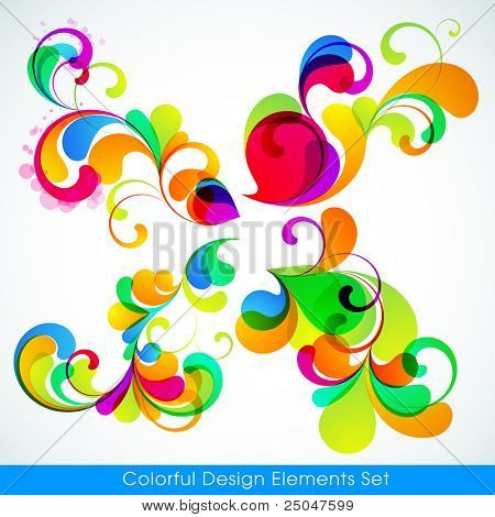 EPS10. Editable collection of colorful design elements