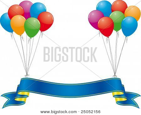 celebration banner and colorful balloon   (vector in portfolio)