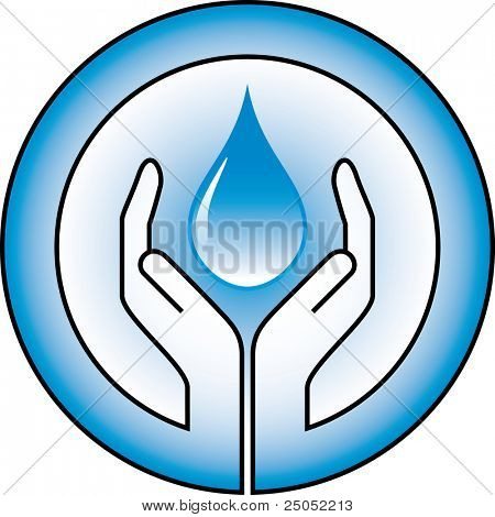 waterdrop and hands (vector in portfolio)