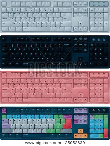 Photo-realistic vector illustration of PC keyboards