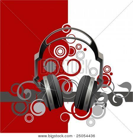 Abstracción musical con auriculares