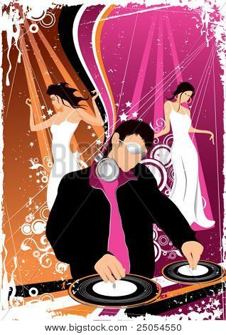 Illustration of a night club with the DJ on a forward background