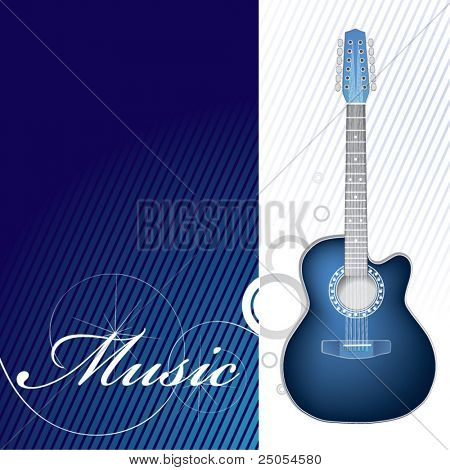 Guitar on it is white a dark blue background