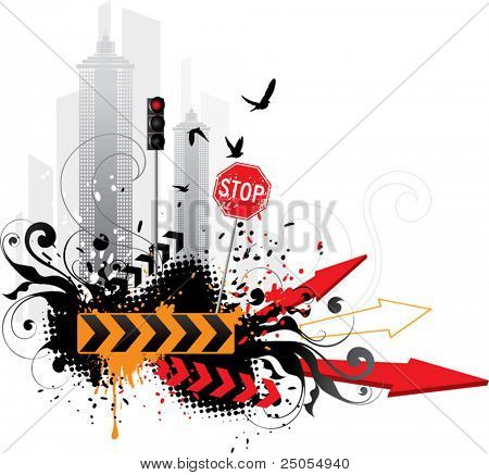 Abstract city on a white background