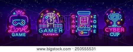 poster of Video Game Neon Sign Collection Vector. Conceptual Logos, Love Game, Gamer Logo, Game Zone, Cyber Sp