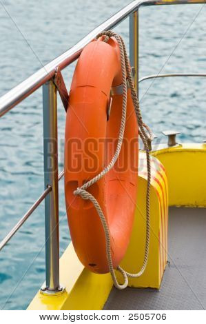 Life Rescue Ring Buoy On Shipboard