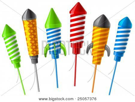 Rockets for fireworks. Vector