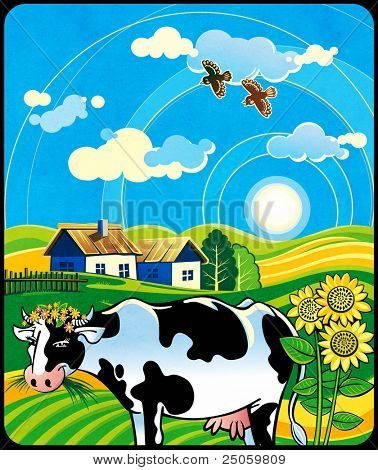 Summer rural landscape with cheerful cow