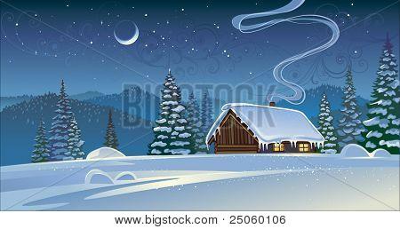 Forest winter landscape with a hut