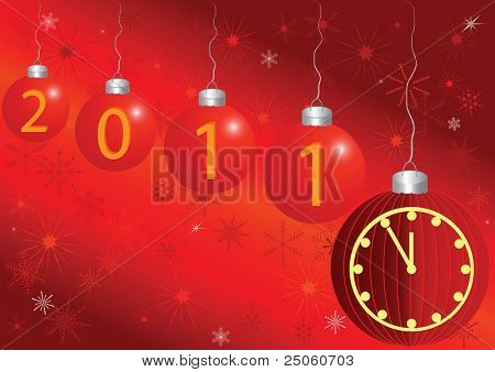 2011 new year card with a clock and space for the text