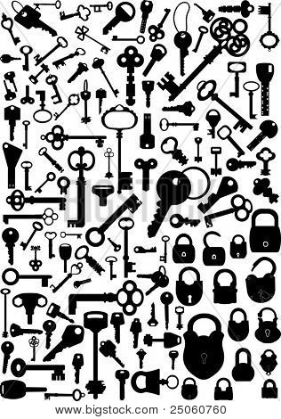 Collection of antique and modern keys and padlocks, vector illustration