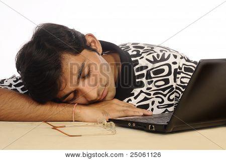 Man sleeping at work