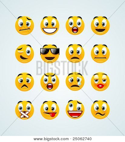 a set of 16 high-detailed orange emotive smileys