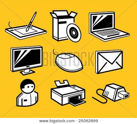 PC-Hardware und Software-Icons set