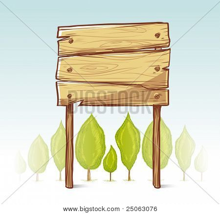 Wooden sign illustration. Vector illustration.