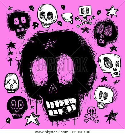 Skull doodles collection. Vector illustration.