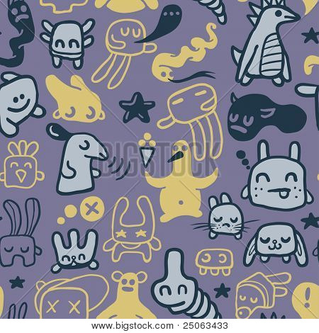 Funny doodles. Seamless pattern. Vector illustration.
