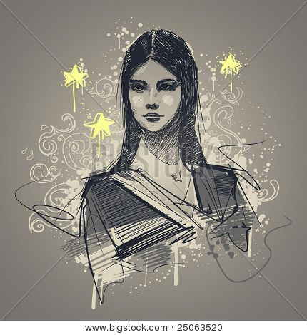 Glamour model portrait. Vector illustration.