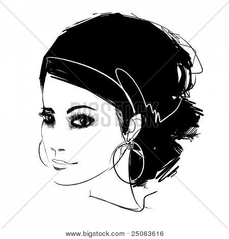 Fashion model portrait. Vector illustration.
