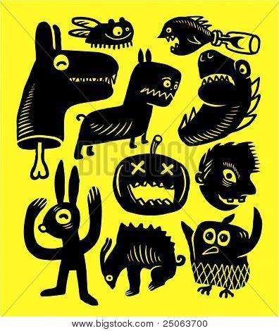 Halloween hand-drawn monsters. Vector illustration.
