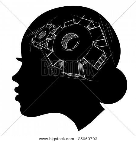 Thinking process. Hand drawn vector illustration.