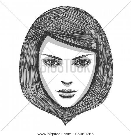 Hand drawn fashion model. Vector illustration.