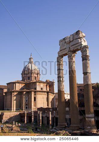 View With Forum Romanum In Rome