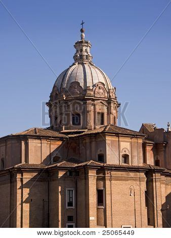 Dome Of The Church In Forum Romanum In Rome
