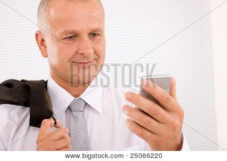Mature Businessman Hold Phone Close-up Portrait
