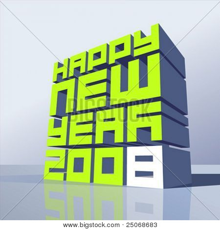 Vector editable New Year 2008