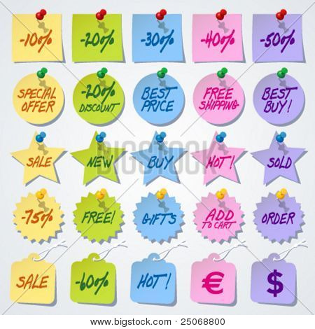 Set of sale tag stickers with thumbtacks. Vector