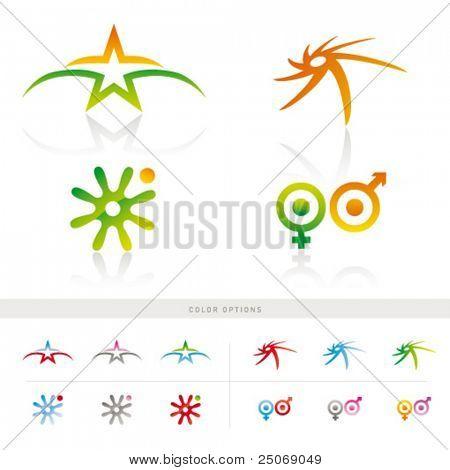 Satz von 4 ursprünglichen Symbole mit Farboptionen