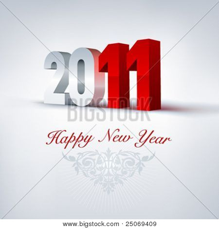 Vector greeting card 2011. Editable