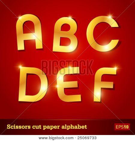 Golden alphabet for designers. Vector EPS10. No mesh.