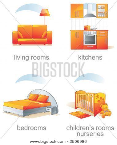 Icon Set - Home Furniture Items. Aqua Style