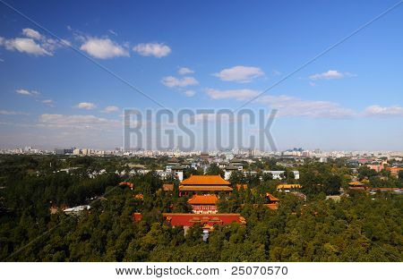Palace Gate under blue sky and cloud look from jingshan