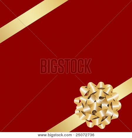 Golden gift bow with ribbon on the red background.