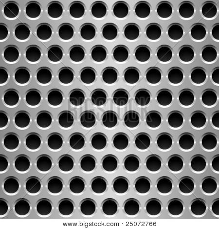 Seamless vector wallpaper of perforated metal plate.