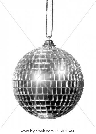 Christmas mirror ball isolated on the white background.
