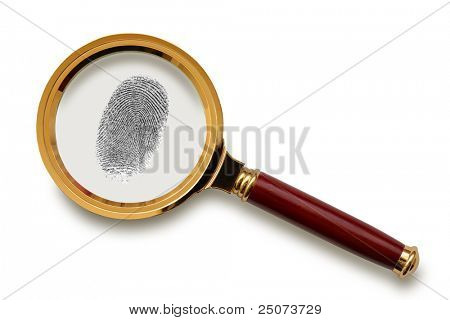 Magnifying glass with fingerprint  isolated on the white background, clipping path included.