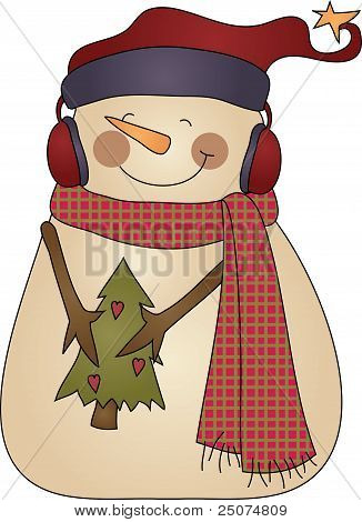 Cute Winter snowman holding a tree