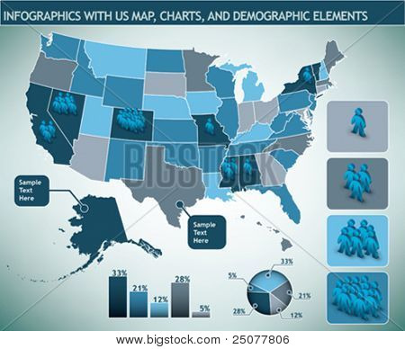 Infographic with map and demographic elements