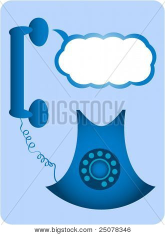 A blue retro analogue dial tone telephone with chat bubble. Add your own message.