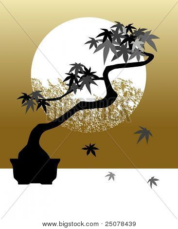 Stylized maple bonsai tree against neutral background with a full moon.