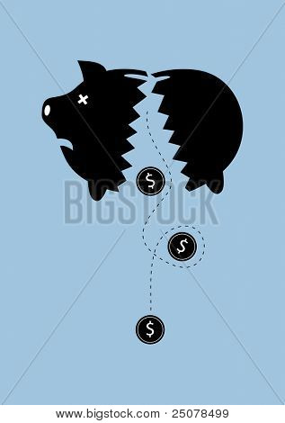 Bankruptcy - Money dropping out of a broken piggy bank.