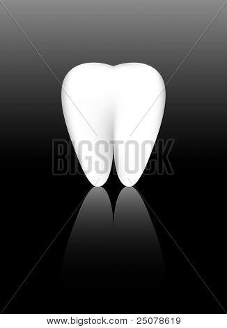 Um dente saudável branco, feito de malha de gradiente.